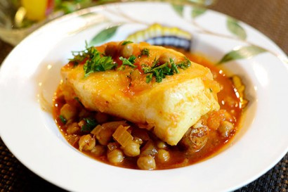 Spanish sea bass with chickpeas tasty kitchen a happy for Turkish sea bass recipe