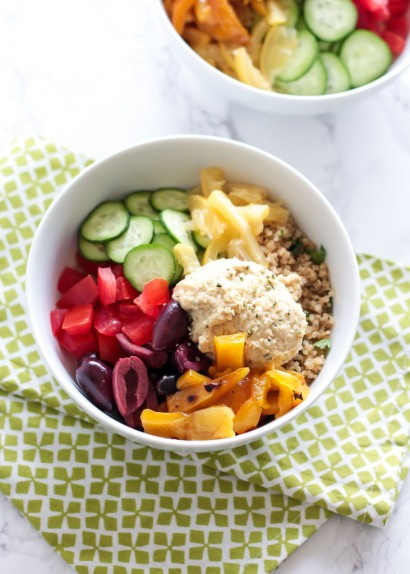 Mediterranean Quinoa Bowls With Hemp Heart Hummus | Tasty Kitchen: A ...
