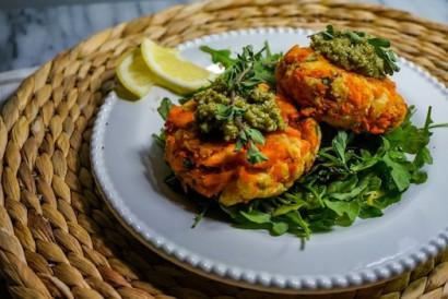 Salmon Cakes with Almond Pesto | Tasty Kitchen: A Happy Recipe ...