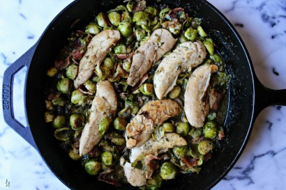 Ranch chicken brussels sprouts and bacon skillet tasty for Chicken and brussel sprouts skillet