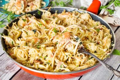 Creamy Chicken and Shrimp Carbonara | Tasty Kitchen: A ...