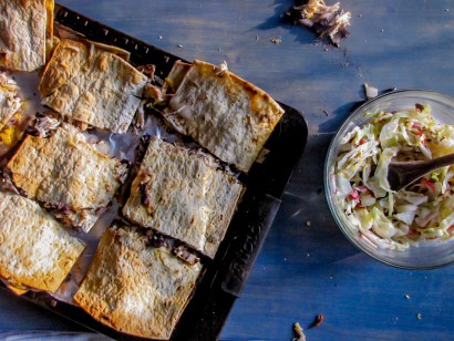 Sheet Pan Pulled Chicken Quesadillas With Roasted Radish Slaw