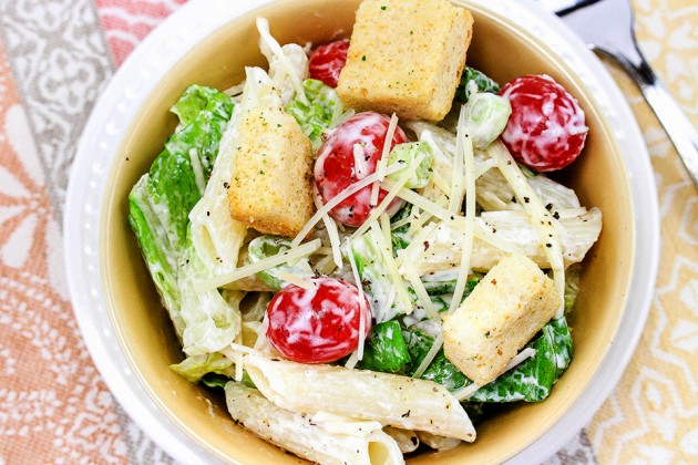how to make a pasta salad with caesar dressing
