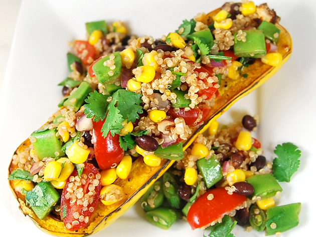 Tasty Kitchen Blog: Cinco de Mayo. Guest post by Jaden Hair of Steamy Kitchen, Mexican Salad Stuffed Squash recipe submitted by TK member My Recession Kitchen.