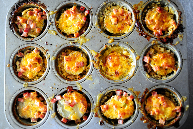 Tasty Kitchen Blog: Individual Scalloped Potatoes with Ham. Post by Ree Drummond, recipe submitted by TK member Meseidy of The Noshery.