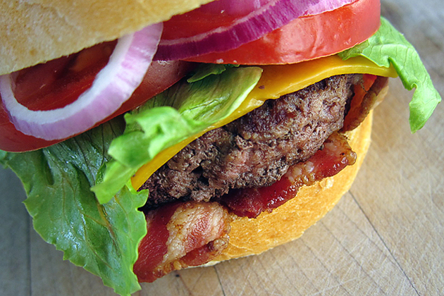 Tasty Kitchen Blog: Burgers, Shakes, Fries and Don't Forget the Apple Pie! (Bacon Cheddar Cheeseburger, from Sarah of Tastespotting)