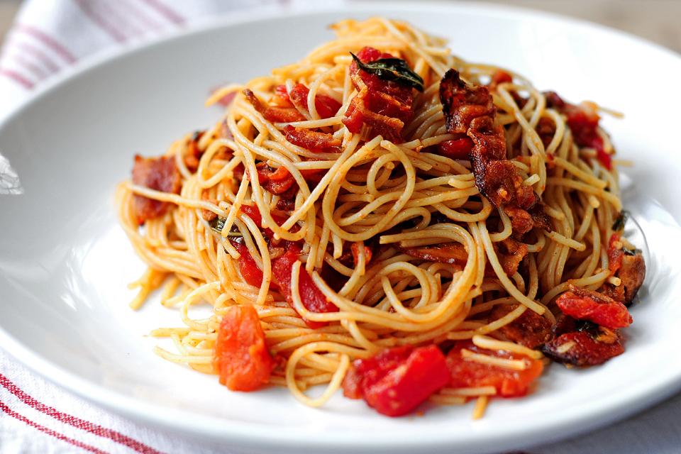 Tasty Kitchen Blog: Bacon Tomato Capellini. Guest post by Amy Johnson of She Wears Many Hats, recipe submitted by TK member PlanoSheila (sheilajfoster).