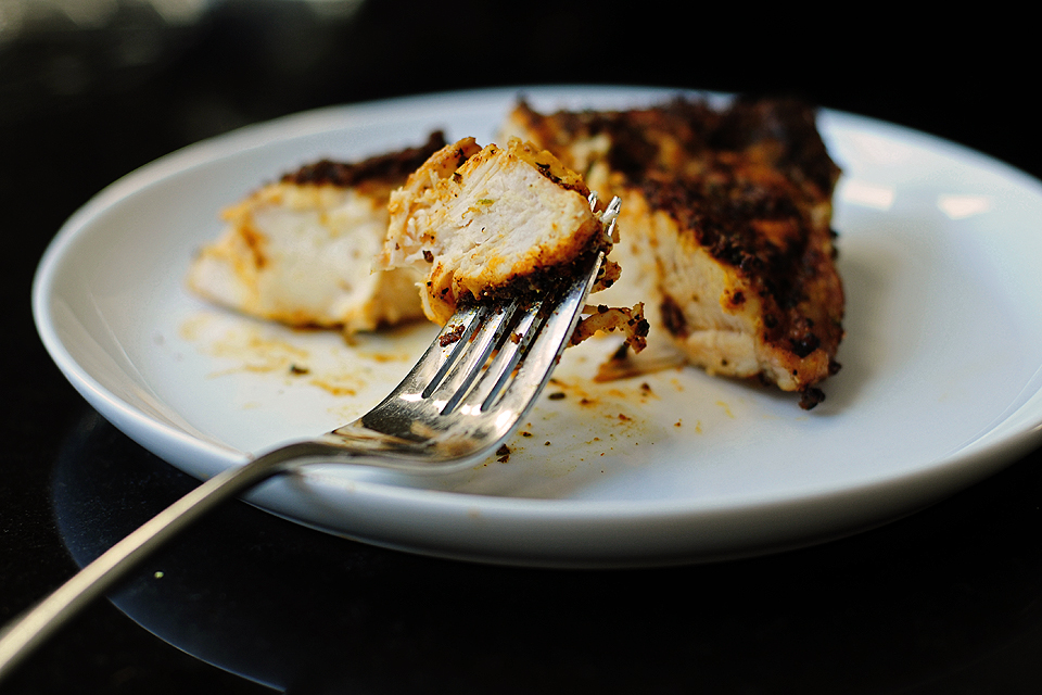 Grilled chicken breast in toaster oven