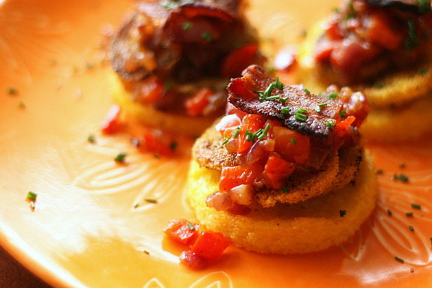 Tasty Kitchen Blog: Looks Delicious! (Fried Green Tomatoes on Polenta Rounds with Peppers, Onions, and Bacon, submitted by TK member Natalie Perry of Perry's Plate)
