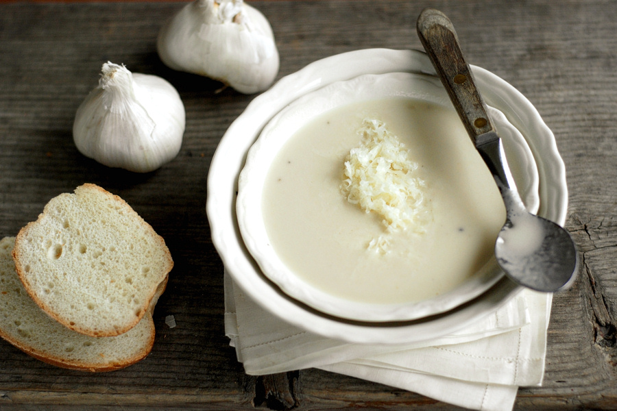 Tasty Kitchen Blog: Outrageous Garlic Soup. Guest post by Erica Kastner of Cooking for Seven, recipe submitted by TK member n8tivenyer.