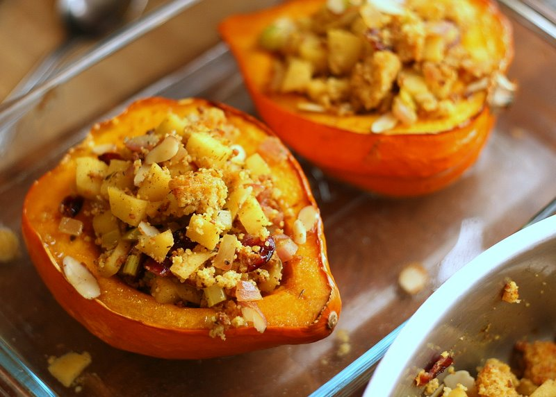 Tasty Kitchen Blog: Stuffed Acorn Squash with Cranberry Cornbread Stuffing. Guest post by Natalie Perry of Perry's Plate, recipe submitted by TK member kvmolen.
