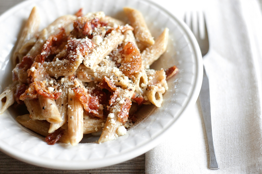 Tasty Kitchen Blog: Bacon and Parmesan Pasta. Guest post by Erica Kastner of Cooking for Seven, recipe submitted by TK member Trish Boese.