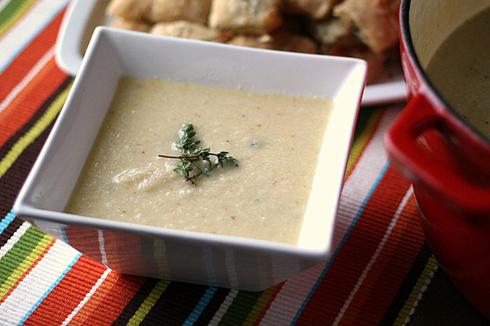 Tasty Kitchen Blog: Roasted Cauliflower Soup. Guest post by Natalie Perry of Perry's Plate, recipe submitted by TK member Hailey of Hail's Kitchen.