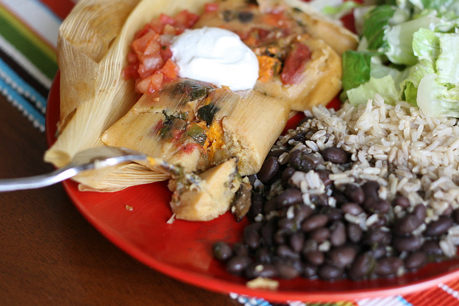 Tasty Kitchen Blog: Vegetarian Tamales. Guest post by Natalie Perry of Perry's Plate, recipe submitted by TK member Julie of Mommie Cooks.