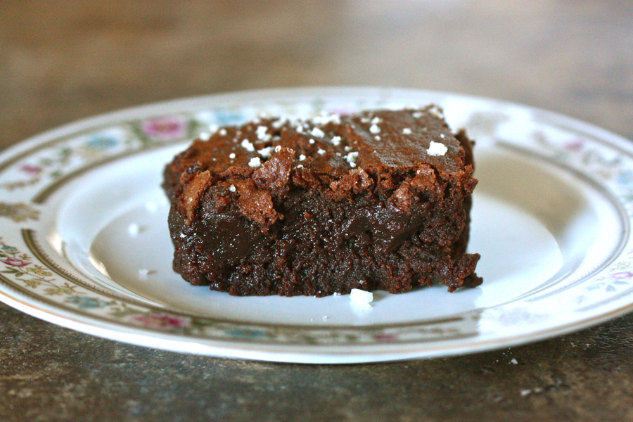 Tasty Kitchen Blog: Salted Fudge Brownies. Guest post by Jenna Weber of Eat, Live, Run; recipe submitted by TK member Jennifer (janedeere) of Jennifer Cooks.
