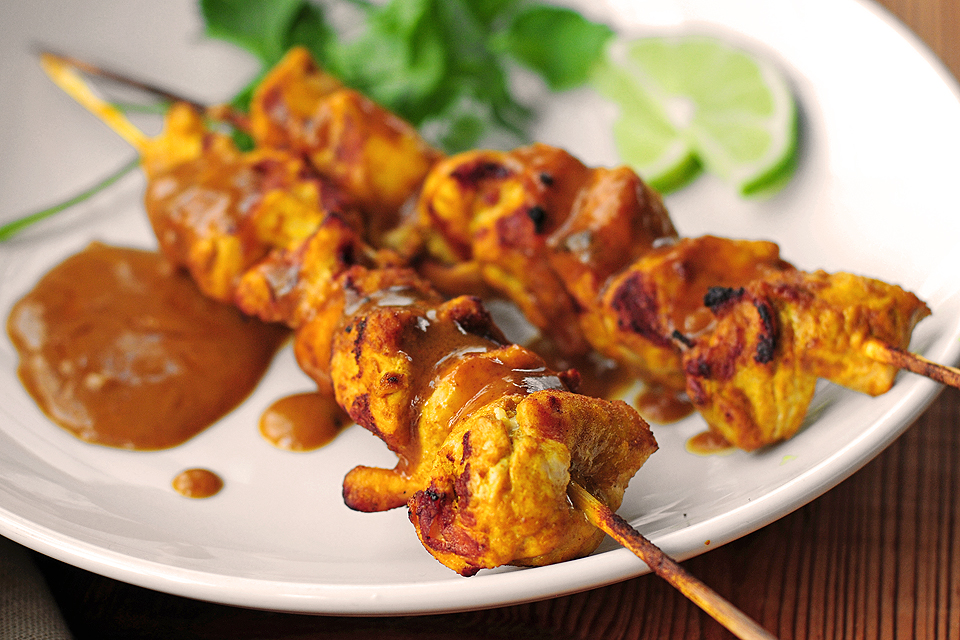 Chicken Satay with Peanut Sauce | Tasty Kitchen Blog