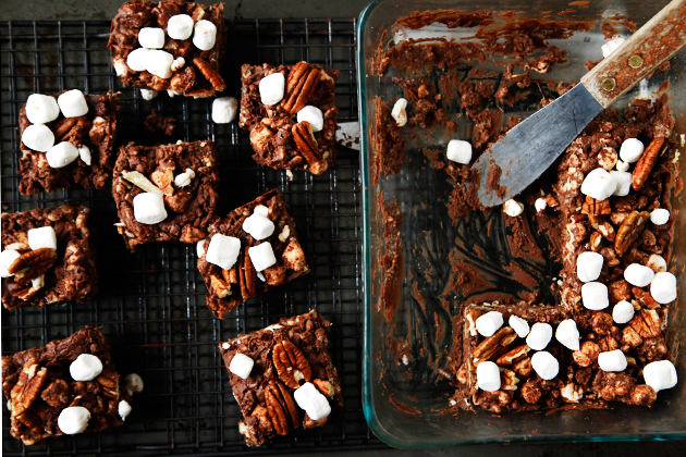 Tasty Kitchen Blog: Rocky Road Rice Krispie Treats. Guest post by Alice Currah of Savory Sweet Life, recipe submitted by TK members Chrissy and Lauren of From the Yellow Kitchen.