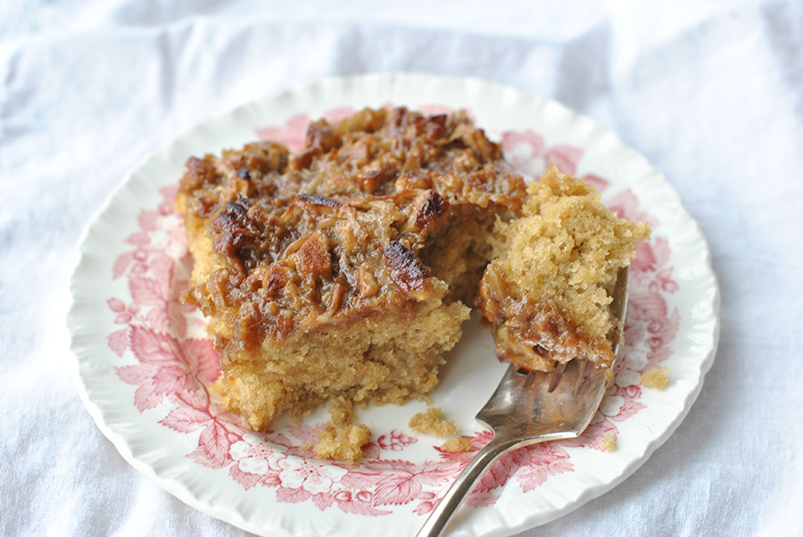 Tasty Kitchen Blog: Old Fashioned Oatmeal Cake with Broiled Topping. Guest post by Maggy Keet of Three Many Cooks, recipe submitted by TK member Brandi (dbnelson).