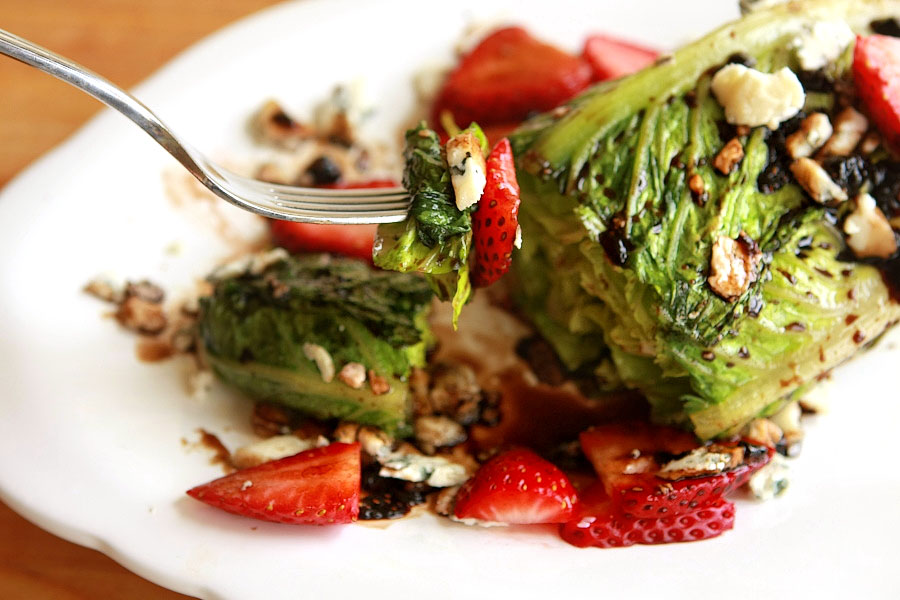 Grilled Salad with Strawberry Balsamic Reduction | Tasty ...