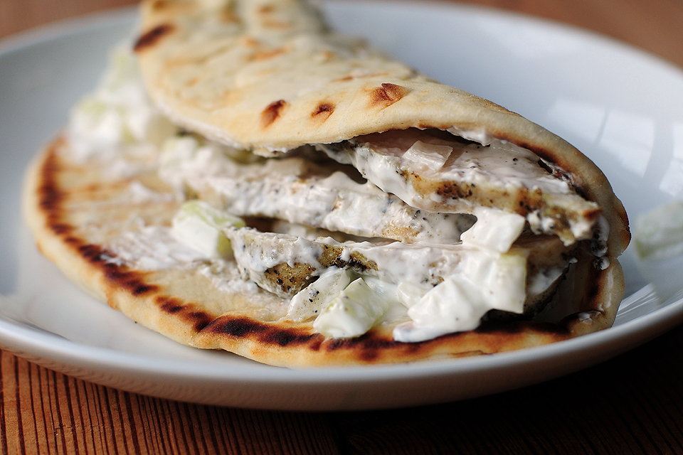 Tasty Kitchen Blog: Chicken Souvlaki Pita with Tzatziki. Guest post by Amy Johnson of She Wears Many Hats, recipe submitted by TK member Birdie (birdiesbrood).