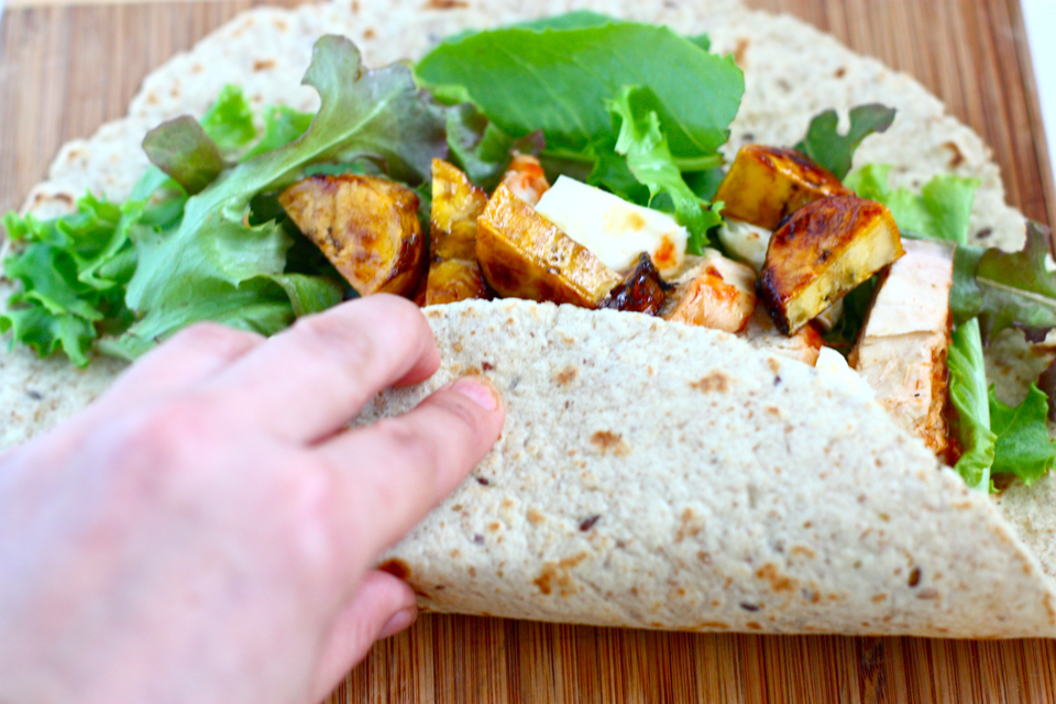 Tasty Kitchen Blog: BBQ Chicken, Brie and Plantain Wraps. Guest post by Jenna Weber of Eat, Live, Run; recipe submitted by TK member Tina of My Life as a Mrs.