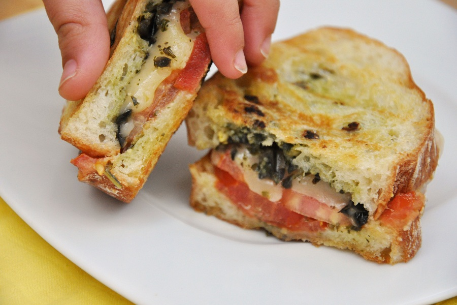 Tasty Kitchen Blog Pesto, Olives and Tomato Grilled Cheese