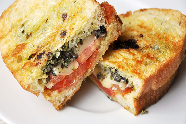 Tasty Kitchen Blog: Pesto, Olives and Tomato Grilled Cheese. Guest post and recipe from Jennifer Leal of Savor the Thyme.