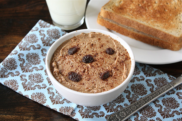 Tasty Kitchen Blog Cinnamon Raisin Almond Butter. Guest post by Maria Lichty of Two Peas and Their Pod, recipe submitted by TK member Brittany of Eating Bird Food.