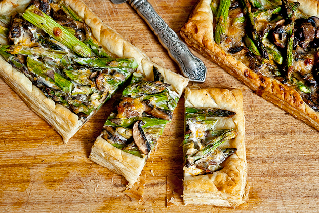 Tasty Kitchen Blog: Asparagus Cheese Tarts. Guest post by Georgia Pellegrini, recipe submitted by TK member Harlie Merten (sissy1) of One Bakin' Blonde.