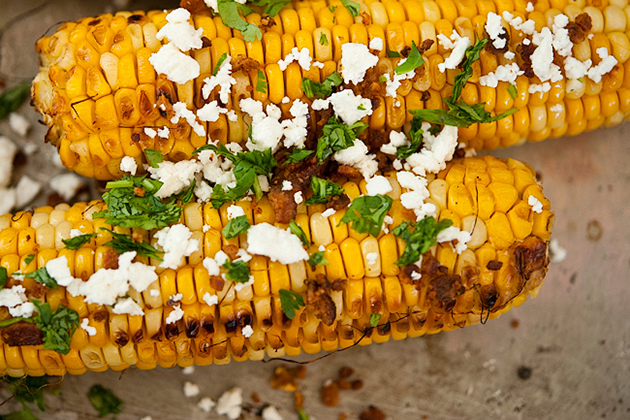 Tasty Kitchen Blog Grilled Corn with Bacon Butter & Cotija Cheese. Guest post by Georgia Pellegrini, recipe submitted by TK member Jessica Merchant of How Sweet It Is.
