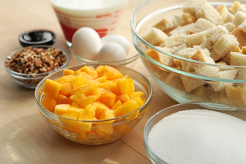 Tasty Kitchen Blog: Peachy Bread Pudding. Guest post by Amy Johnson of She Wears Many Hats, recipe submitted by TK member Marvin.