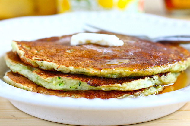 Tasty Kitchen Blog Sweet Zucchini Pancakes. Guest post by Jenna Weber of Eat, Live, Run; recipe submitted by TK member Lindsay of Pinch of Yum.