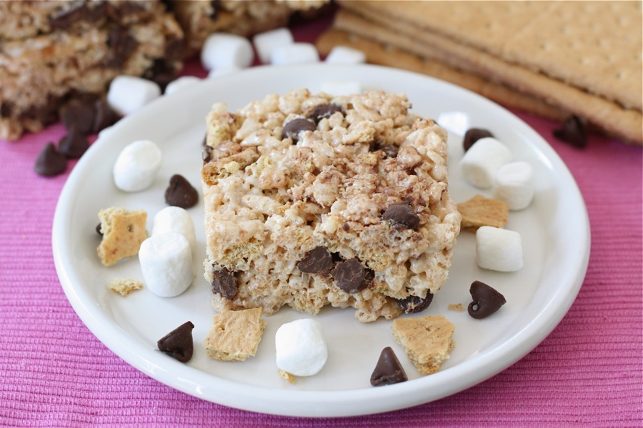 Tasty Kitchen Blog S'more Rice Krispie Squares. Guest post by Maria Lichty of Two Peas and Their Pod, recipe submitted by TK member Hannah Jeffries of City Baked.