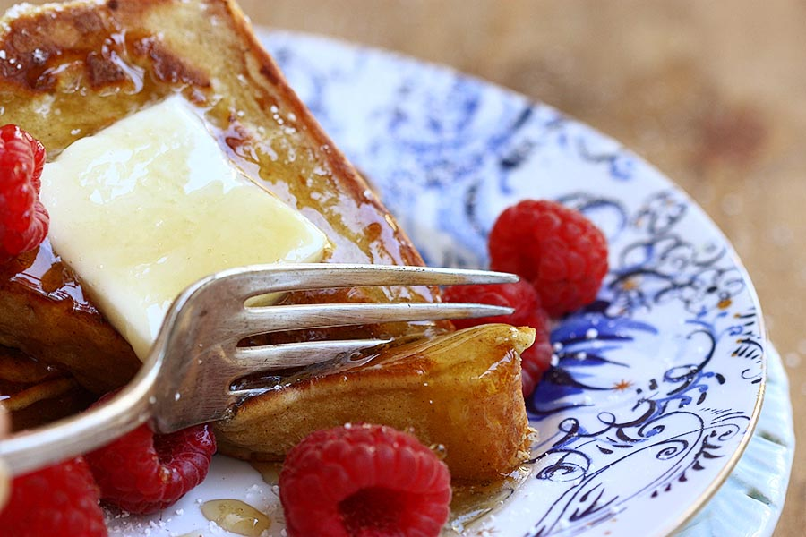 Tasty Kitchen Blog When French Toast Met Pancakes and Fell In Love. Guest post by Adrianna Adarme of A Cozy Kitchen, recipe submitted by TK member Stacey of Freckles and Sunshine.