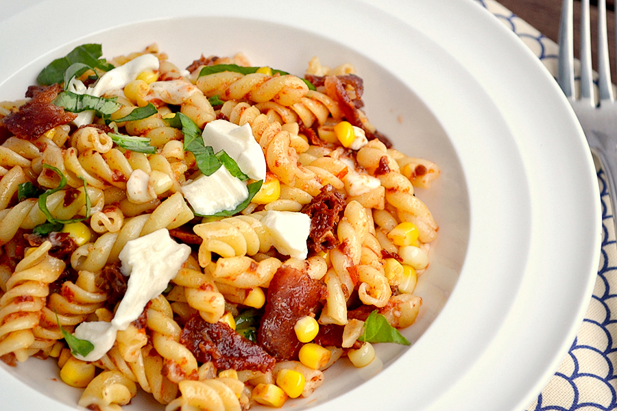 TK Blog: Happy Canadian Thanksgiving Day! (Sun-dried Tomato, Corn, and Bacon Pasta from TK member K&K Test Kitchen)