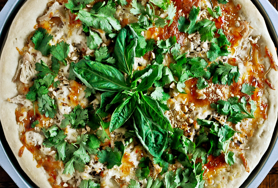 Tasty Kitchen Blog: Thai Chicken Pizza. Guest post by Jessica Merchant of How Sweet It Is, recipe submitted by TK member Dax Phillips of Simple Comfort Food.