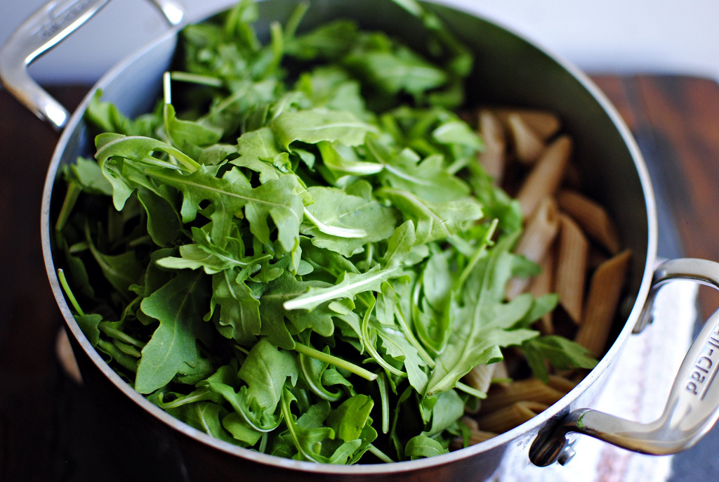 Tasty Kitchen Blog: Creamy Penne with Blue Cheese, Arugula and Toasted Walnuts. Guest post by Laurie McNamara of Simply Scratch, recipe submitted by TK member Bev Weidner of Bev Cooks.