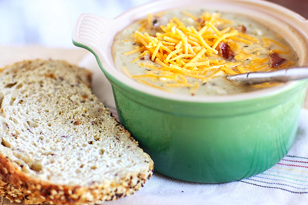 Tasty Kitchen Blog: Cowboy Potato Chowder. Guest post by Jenna Weber of Eat, Live, Run; recipe submitted by TK member Kelly (kellykitchen).
