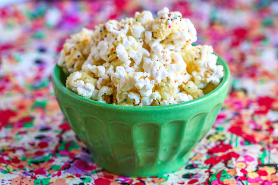 Tasty Kitchen Blog: Birthday Cake Batter Popcorn. Guest post by Jenna Weber of Eat, Live, Run; recipe submitted by TK member Mrs. Schwartz's Kitchen.
