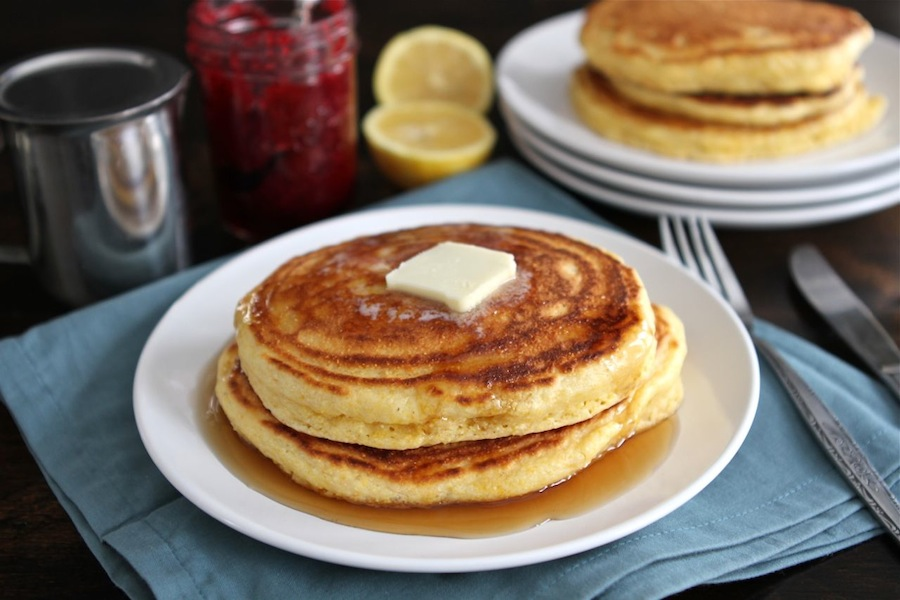 Tasty Kitchen Blog: Lemon Cornmeal Pancakes. Guest post by Maria Lichty of Two Peas and Their Pod, recipe submitted by TK member Jenna Weber of Eat, Live, Run.