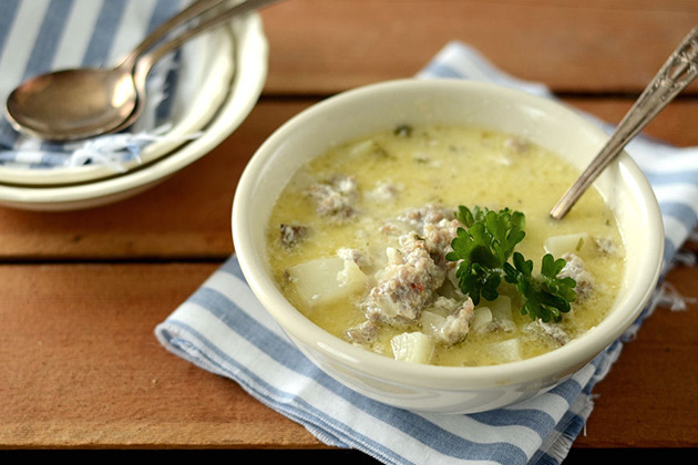 Tasty Kitchen Blog: Sausage Potato Soup. Guest post and recipe by Erica Kastner of Cooking for Seven.