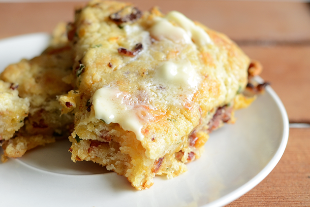 Tasty Kitchen Blog: Bacon, Cheddar and Chive Scones. Guest post by Erica Kastner of Cooking for Seven, recipe submitted by TK member Lindsay of Schnoodle Soup.