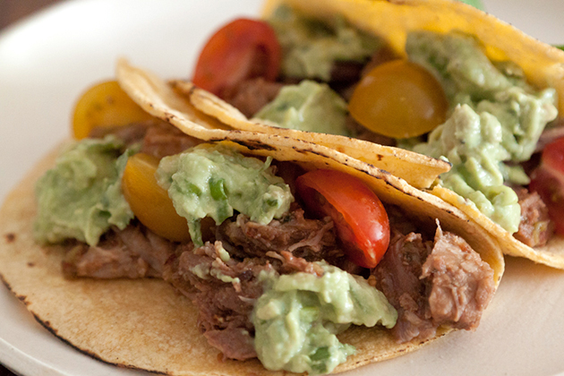 Tasty Kitchen Blog: Sweet Pulled Pork Tacos with Avocado Cream Sauce. Guest post by Gaby Dalkin of What's Gaby Cooking, recipe submmitted by TK member Tonya of 4 Little Fergusons.
