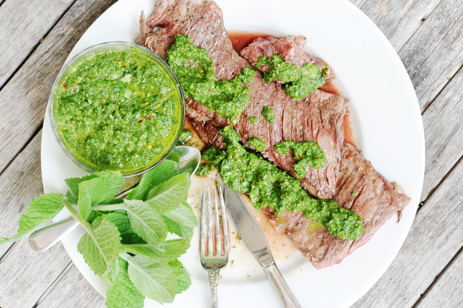 Tasty Kitchen Blog: Grilled Hanger Steak with Cilantro Mint Chimichurri. Guest post by Georgia Pellegrini, recipe submitted by TK member Sommer of A Spicy Perspective.