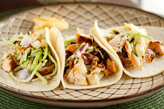 Tasty Kitchen Blog: Chipotle Grilled Chicken Tacos with Pineapple Slaw. Guest post by Amber Potter of Sprinkled with Flour, recipe submitted by TK member Kim of Sunflower Supper Club.
