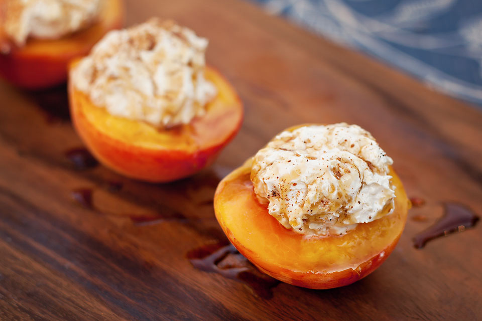 Grilled Peaches With Sweetened Sour Cream Recipe — Dishmaps