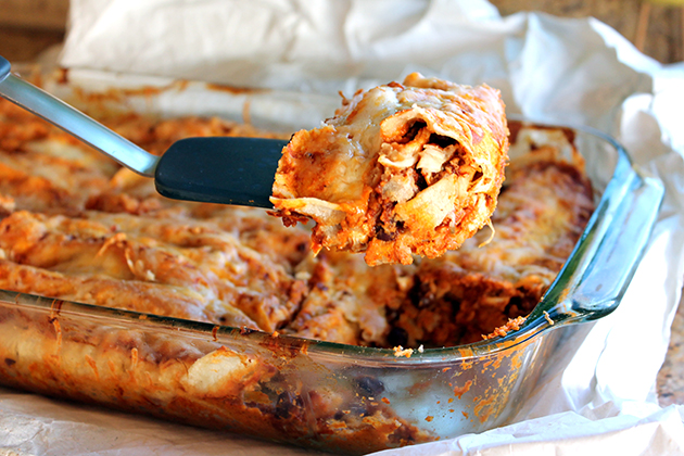 Tasty Kitchen Blog: Spicy Black Bean Chicken Enchiladas with Pumpkin Sour Cream Sauce by Monique of Ambitious Kitchen