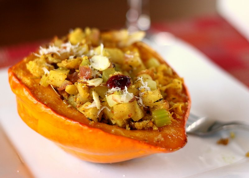 Tasty Kitchen Blog: Stuffed Acorn Squash with Cranberry Cornbread Stuffing. Guest post and photo by Natalie Perry of Perry's Plate, recipe submitted by TK member Katie (kvmolen).