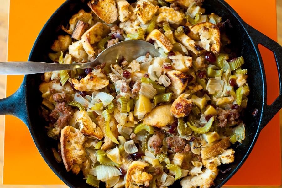 Tasty Kitchen Blog: Turkey Sausage, Apple, and Cranberry Stuffing. Guest post by Georgia Pellegrini, recipe submitted by TK members Kim and Kelsey of K&K Test Kitchen.