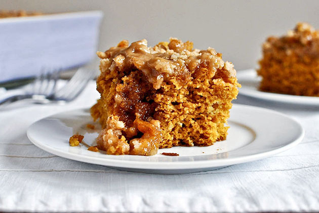 Tasty Kitchen Blog: Pumpkin Coffee Cake with Brown Sugar Glaze. Guest post and photo by Jessica Merchant of How Sweet It Is, recipe submitted by Tk member Heather of Heather's Dish.